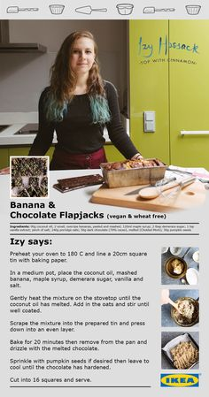 Delicious Banana and Chocolate Flapjacks by Izy Hossack of Top with Cinnamon.