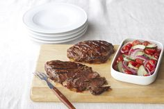 Serve these boldly flavoured steaks family style - sliced on a wooden carving board for all to share.