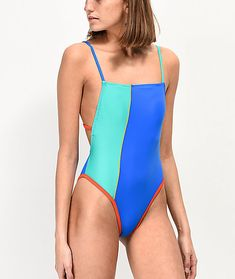 Get full coverage in a flattering silhouette and vibrant color scheme, with the Malibu Color Block High Leg One Piece Swimsuit. Even with full coverage this suit offers high-cut legs for a flattering look while the blue and green color block construction Beach Poses, Off Colour, Swimsuits, Swimwear, One Piece Swimsuit, Vibrant Colors, Colorful, Polyester Spandex, Legs