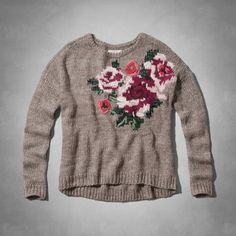 Pretty and supersoft, floral intarsia graphic with embroidered details, Longer Length, Easy Fit, Imported<br><br>52% Acrylic / 20% Nylon / 20% Wool / 8% Alpaca