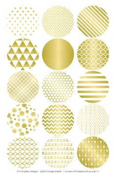 Gold Foil Digital Bottle Cap Images – Erin Bradley/Ink Obsession Designs