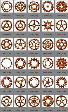 30 Steampunk Rusty Metal Cogs & Gears - digital downloadable clip art for you to use for your crafting projects - journaling, scrapbooking, card making, hang tags, logo design, party invitations, wedding invitations, web design, and many more.  You will receive:  - 30 high resolution 5x5 300ppi PNG files with unique individual cog (gear) with transparent background on each.  All files come in zipped folders.  * More ScrapCobra designs with gears: http://etsy.me/22X5bQl ... This is a digital…