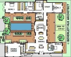 H-SHAPED HOUSE PLANS WITH POOL IN THE MIDDLE Pg3   Courtyard single storey