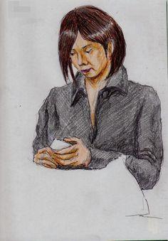 黒い帽子のお姉さん(通勤電車でスケッチ)This is a woman of sketch wearing a black coat. It drew in a commuter train.