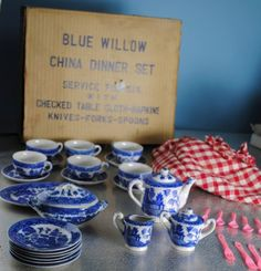 Blue Willow toy china tea set -- the one I had was made right after the War - it was stamped on the bottom 'made in Occupied Japan'