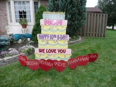 Birthday Cake And Hearts Lawn Sign