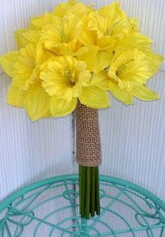 Silk Yellow Daffodil Wedding Bouquet