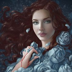 Lyanna Stark by GloriaPM, via deviantart. A beauty garbed in a cloak of blue roses... Doesn't quite hide that subtly bloody hand.