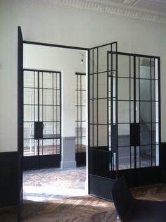 Glass door with wooden handle architecture pinterest - Black metal french doors exterior ...
