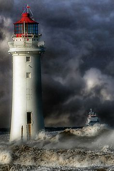 Lighthouse Lighting, Lighthouse Pictures, Lighthouse Painting, Amazing Photography, Nature Photography, Ocean Wallpaper, Beacon Of Light, Dark Skies, Amazing Nature