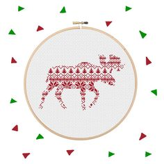 Moose Cross Stitch Pattern Gift Xmas Instant Download PDF Holiday Design Nordic Christmas Style Scandinavian Forest Animal Festive Decorate by Stitchonomy