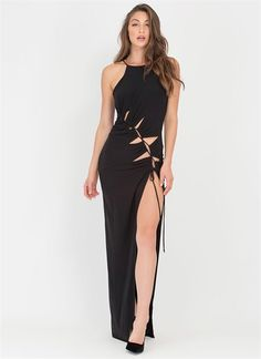 Thrilling View Lace-Up Maxi Dress - Make a thrilling entrance in this statement-making number! Stretchy maxi dress features an open front secured with an adjustable, self-tie lace-up accent that runs diagonally across the torso. Narrow-cut top has...