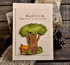 Vladka Serbinek: Creative Chest for CottageBLOG: Animal abode - second part - 2/18/15.  (Dies: Critterville Tree House; Resting Fox).  (Pin#1: Dies: Cottage Cutz.  Pin+: Animals...).
