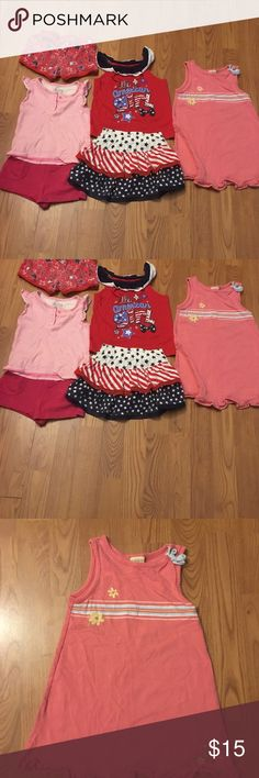 ✨3T BUNLE✨✨✨✨ 3 cute little outfits Winnie the Pooh summer dress All American girl shirt,skort,and short And a shirt and short outfit  All preloved but still have so much more wear out of them!!😊✨✨✨✨✨✨✨✨ Other