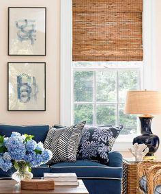 6 Respected Tips: Diy Blinds For Kids natural bamboo blinds. Le Living, Home Living Room, Living Room Decor, Living Spaces, Living Room Blinds, Coastal Living, Diy Blinds, Curtains With Blinds, Window Blinds