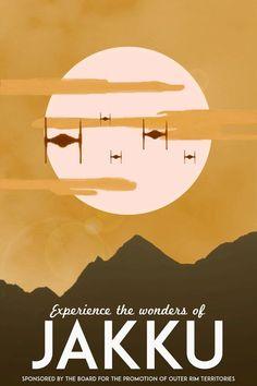 Star Wars: The Force Awakens Vintage Travel Poster [Visit Jakku] (alternative movie poster; minamalist movie poster) #VintageTravel