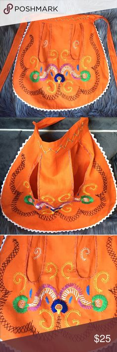 Orange Embroidered Waist Apron Made in Portugal! Perfect for your HALLOWEEN housewife costume Other