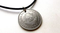 Romanian necklace, Coin necklace, Coin Jewelry, Mens necklace, Coins, Leather necklace, Vintage necklace, USSR, Romanian coin, Pendant, 1966 by CoinStories on Etsy