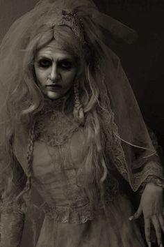 Miss Havisham 4by ~Slaughterose                  Photography / People & Portraits / Cosplay©2012 ~Slaughterose                                                The creepy jilted bride from Great Expectations. My school did the play, and for my senior project I did the costumes, makeup & backdrops. Model/actress is Shantelle Brown.Costume/makeup/picture by me.