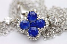 Gregg Ruth .80 ct. t.w. Sapphire and .35 ct. t.w. Diamond Floral Necklace in 18k…