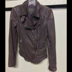 Muubaa size 4 Blush Moto leather jacket Bought, never worn. Did condition the leather though. A dusky maroon, excellent condition Muubaa Jackets & Coats