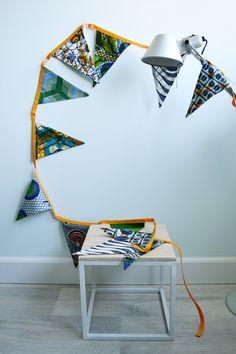 Vlaggetjes Afrikaanse stof   Batik Bunting door SusansWax op Etsy