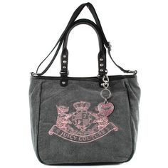 Juicy Couture Womens Scottie Embroidery Heather Prestige Grey Bag ($200) ❤ liked on Polyvore