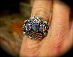 Genuine Australian Opal ring w/Amethyst Handmade Fine Silver, Celtic knot design setting.Fine Silver.Statement ring