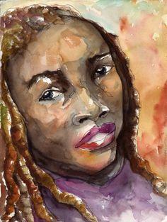Art Painting Watercolor Black Jamaican Dreadlocked Woman Portrait Print