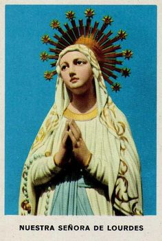Vintage Holy Card  ( Virgin Mary / Lourdes / Catholic Faith / Prayer )