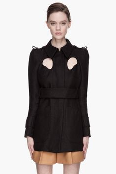 Carven Black Panama Straw Cut Out Jacket