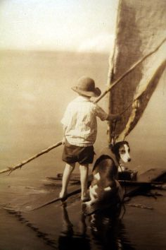 vintage sailing photos 19th c | Boy & Dog Sailing