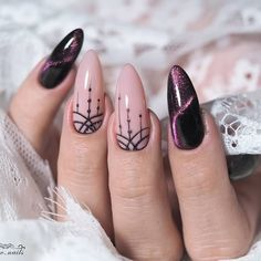 Easy Gel Nail Art Designs Trends & Ideas 2019 - The most beautiful nail designs Black Nail Art, Black Nails, White Nail, Easy Nail Art, Cool Nail Art, Cute Nails, Pretty Nails, Gel Nail Art Designs, Cat Eye Nails
