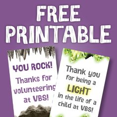 FREE Cave Quest Printable Download! Use this printable tag for volunteer thank you gifts- attach to a mini lantern, flashlight, candle or candy bar.