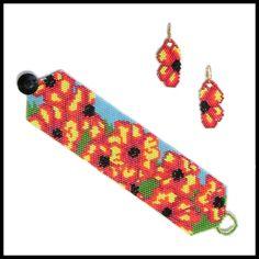 Flaming Flowers Beaded Bracelet & Earrings Pattern | Bead-Patterns.com