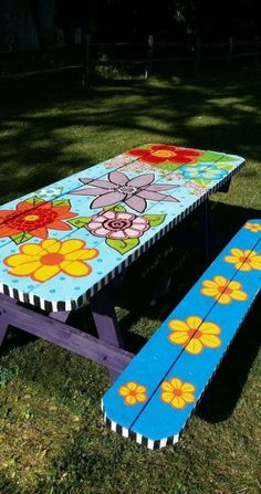 porch paint ideas Ideas For Backyard Porch Decorating Picnic Tables Funky Painted Furniture, Painted Chairs, Meubles Peints Style Funky, Painted Picnic Tables, Bbq Table, Kids Picnic Table, Patio Table, Porch Paint, Porch Decorating