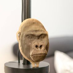 Gorilla  cardboard head Wall 3D Puzzle DIY Kit Paper recycled