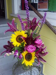 thank you for your friendship bouquet with lilies, sunflowers, soul mate roses, liatris, dendrobium orchid, sweet william dianthus, ferns, ruskus, statice