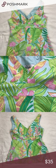 """Lilly Pulitzer Top A piece from the Botanical Garden Collection! Super cute!! Fully lined. 100% Cotton. Measurements: Armpit to armpit - 16"""", Length - 22.5"""" from top of strap to bottom of hem. Lilly Pulitzer Tops Tank Tops"""