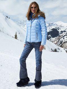BOGNER Women Designer Ski Wear   Powder-Blue 'Noemi-dp' Jacket with Fur