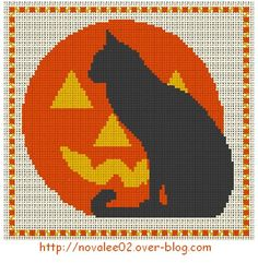 Free cross stitch pattern -  cat and pumpkin   Scroll down and click the ici in 'La grille est ici'