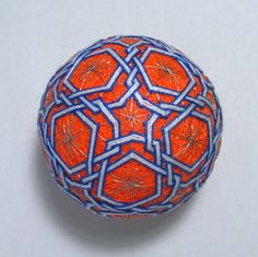 """After all embroidery is finished pieces, add """"rays"""" in 6PP tops. Temari ready."""
