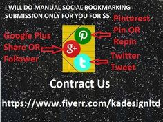 All work done by manual. I Will Do Manual Social Bookmarking Submission Only For you for $5.