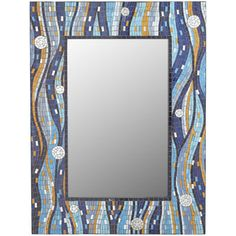 Stop. Look. Smile. Our mirror will cause you to pause each time you walk by. It's framed by a carefully handcrafted, glass mosaic frame. Right after you appreciate the way it brightens your room, you'll notice your own fine reflection—another reason to smile.