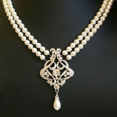 Vintage Style Art Deco Style Pearl Bridal Jewelry Necklace
