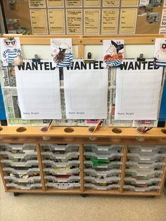 The children made 'wanted' posters using the pictures from Cop and Robbers as a guide. They could also make up their own characters if they wanted. Police Cops, Police Story, Police Activities, Eyfs Activities, What The Ladybird Heard Activities, Burglar Bill, People Who Help Us, Role Play Areas, Cops And Robbers