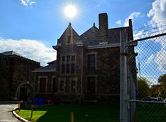 Inside the outer perimeter of Holmesburg Prison between the administration building and the main entrance.