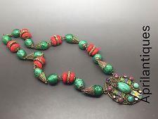 Vintage art deco Czech Neiger Red And peking glass enamel filigree necklace