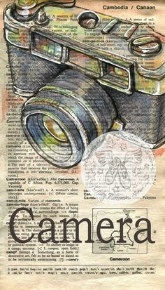 """Copy of the Original, Mixed Media, Drawing on Distressed, Dictionary Page This drawing of a vintage camera is drawn in sepia ink and created with pastels and colored pencils on a distress page of a dictionary that includes the definition of """"camera"""". Book Page Art, Book Pages, Deco Theme Cinema, Journal D'art, Tableau Pop Art, Tableaux Vivants, Camera Drawing, Newspaper Art, Selling Handmade Items"""