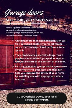 Along with Spring cleaning, Spring is also a great time to think about household maintenance!  CCM Overhead Doors - All the Things! www.oklahomagaragedoors.com